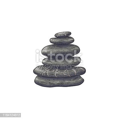 Spa stones in stack vector illustration in sketch style - hand drawn stacked pebbles isolated on white background. Smooth pieces of rock - traditional oriental symbol of wellness and balance.