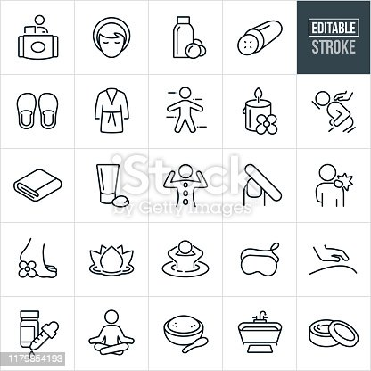 A set of spa and massage icons that include editable strokes or outlines using the EPS vector file. The icons include spa treatments, massage therapist, woman, customer, body wash, cucumber, slippers, robe, candle, massage, masseuse, towel, facia cream, body cream, manicure, sore muscles, lotus flower, hot tub, eye mask, essential oils, meditation, body salts, bathtub and other spa and message related icons.