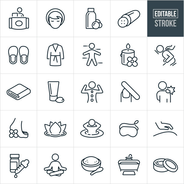 Spa Thin Line Icons - Editable Stroke A set of spa and massage icons that include editable strokes or outlines using the EPS vector file. The icons include spa treatments, massage therapist, woman, customer, body wash, cucumber, slippers, robe, candle, massage, masseuse, towel, facia cream, body cream, manicure, sore muscles, lotus flower, hot tub, eye mask, essential oils, meditation, body salts, bathtub and other spa and message related icons. massage stock illustrations
