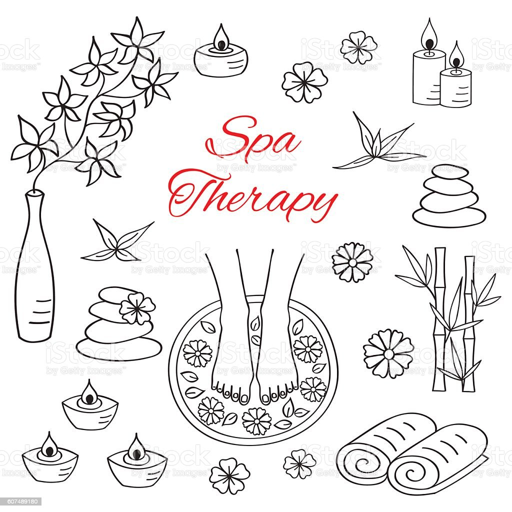 spa treatment hand drawn doodle icons stock vector art  u0026 more images of adult 607489180