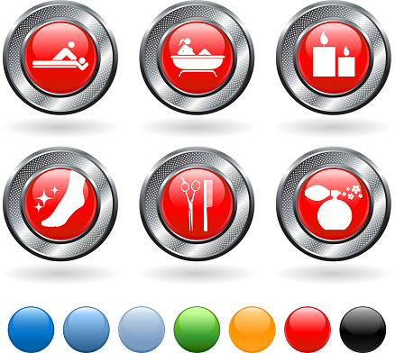 Spa treatment vector icon set on buttons with metallic border
