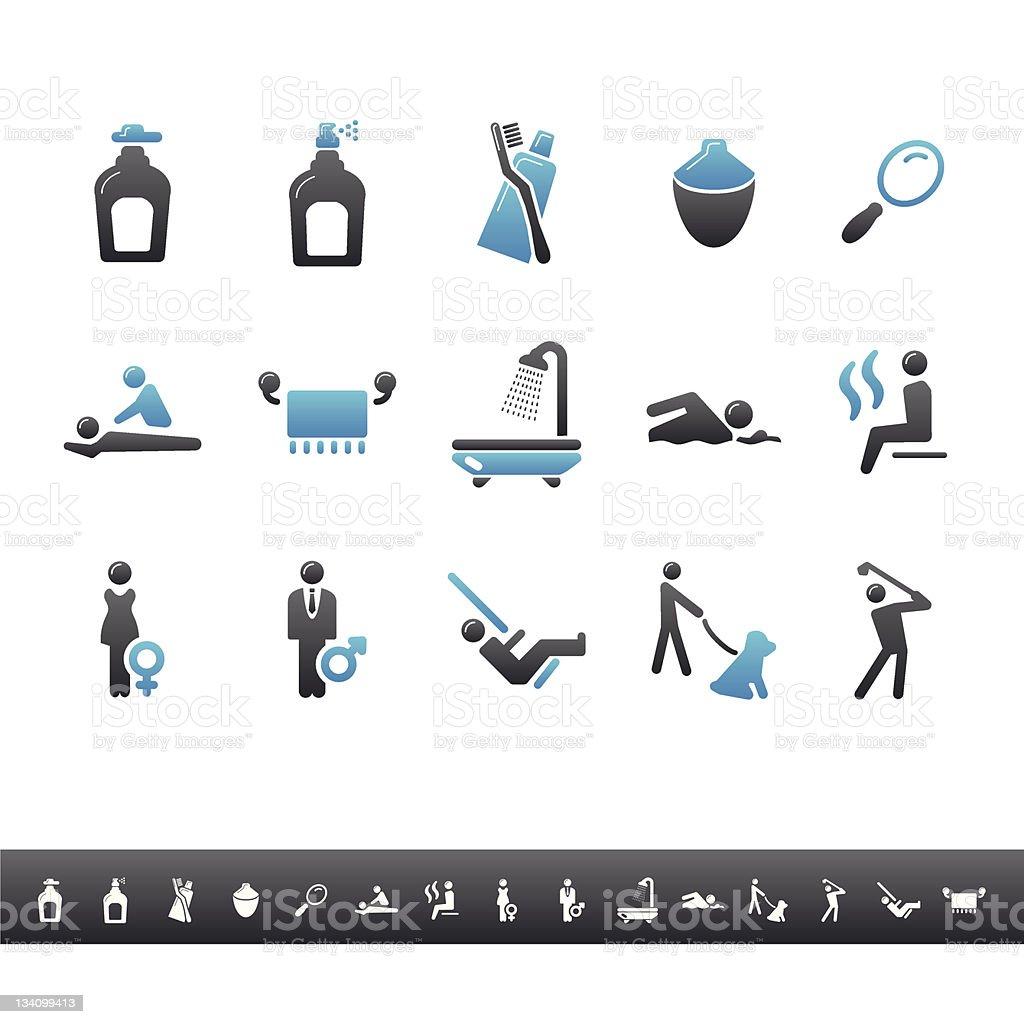 Spa & Wellness | Blue Grey royalty-free spa wellness blue grey stock vector art & more images of bathroom