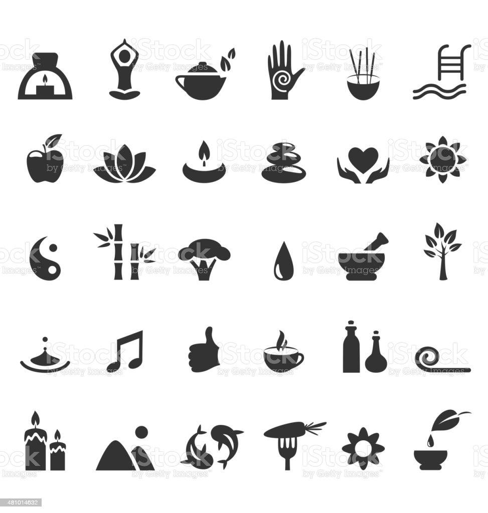 Ioga no Spa zen plana com ícones Isolado no branco - ilustração de arte em vetor