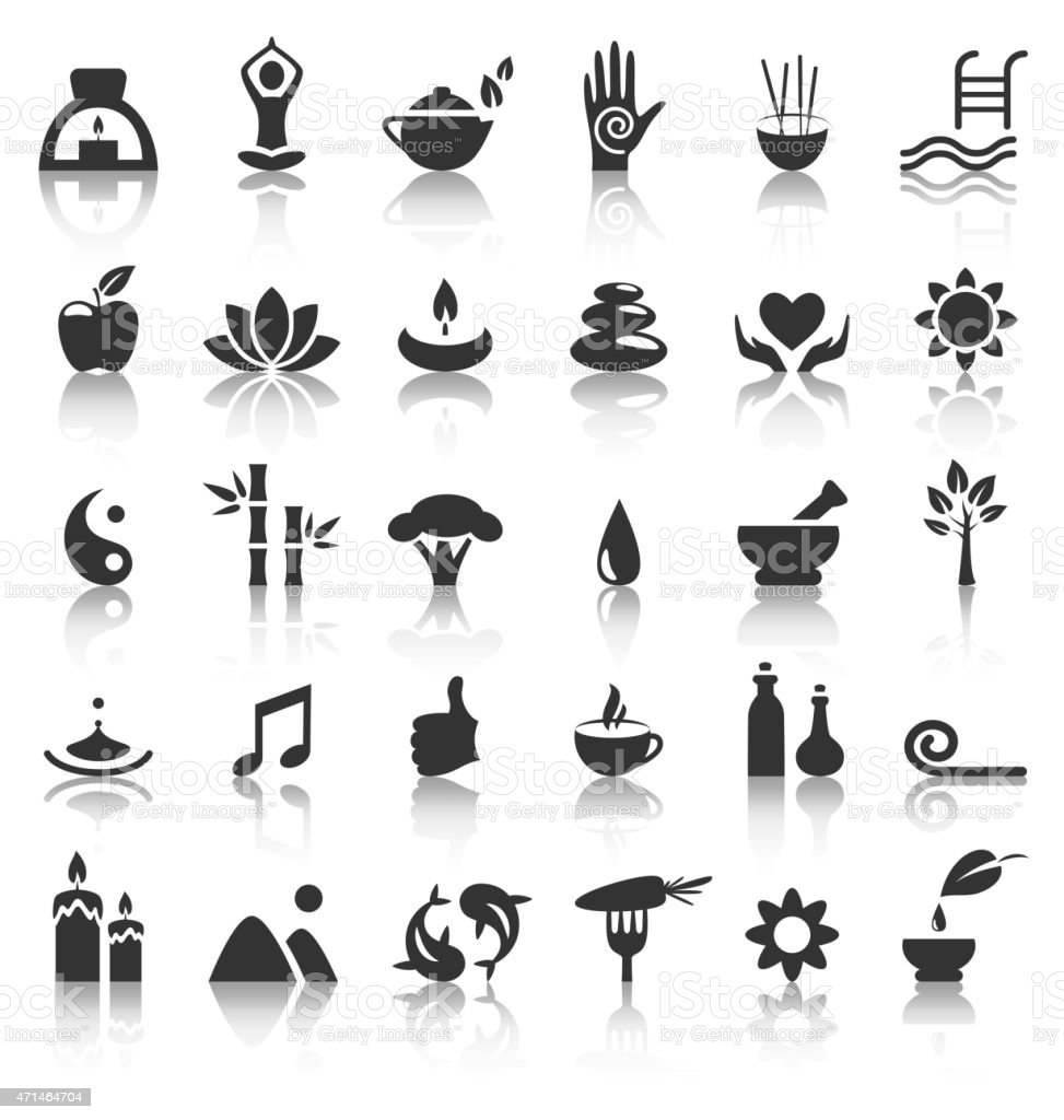 Spa yoga zen flat icons with reflection on white vector art illustration