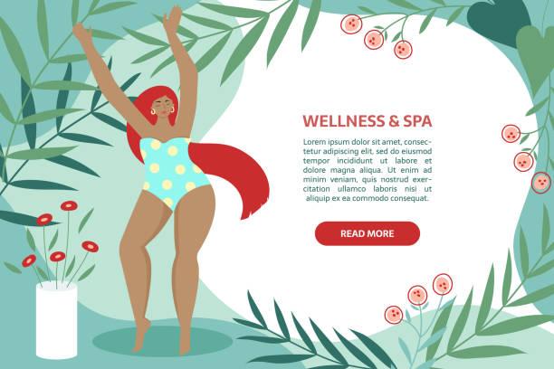 ilustrações de stock, clip art, desenhos animados e ícones de spa_banner - mulher natureza flores e piscina