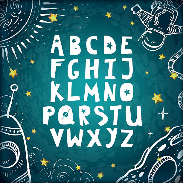 Espacio alfabeto. - ilustración de arte vectorial