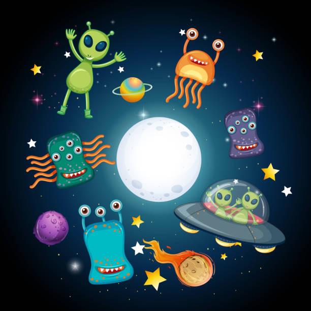 stockillustraties, clipart, cartoons en iconen met een spatie en vreemdelingen - buitenaards wezen