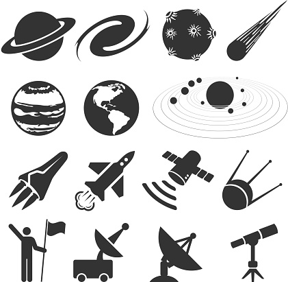 space and astronomy black & white vector icon set
