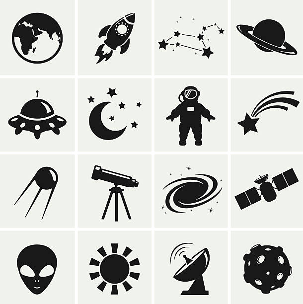 space and astronomy icons. vector set. - astronomy telescope stock illustrations