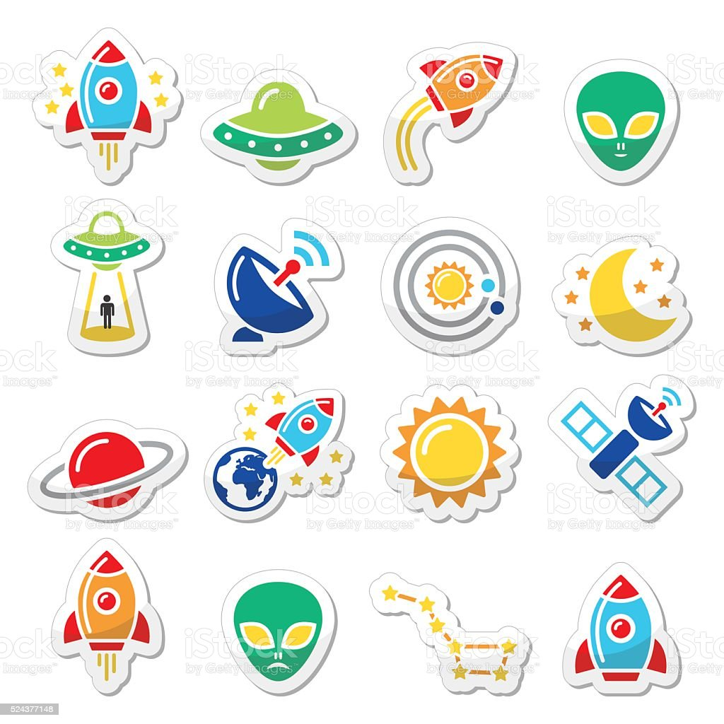 Space and UFO vector icons set vector art illustration