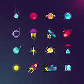 Space and vector flat icons set