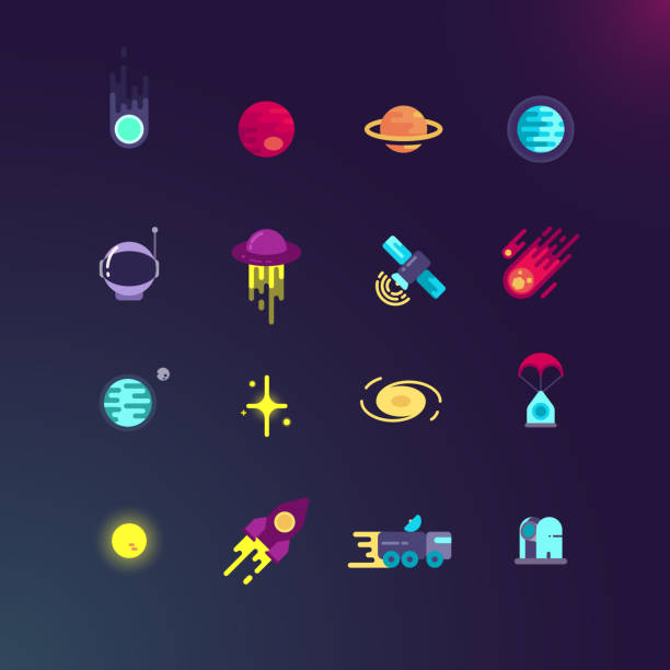 Space and vector flat icons set vector art illustration
