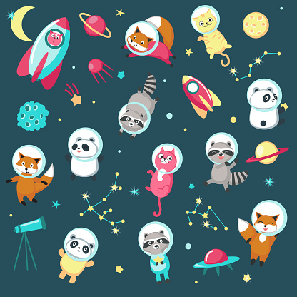 Space animal icon set vector illustration