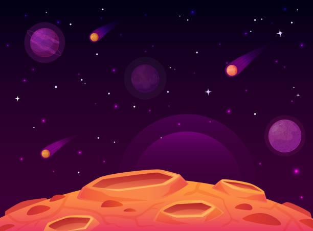 stockillustraties, clipart, cartoons en iconen met ruimte asteroïde oppervlak. planeet met kraters oppervlak, ruimte planeten landschap en komeet krater cartoon vector illustratie - ruimte exploratie