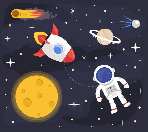 Space astronaut rocket background vector art illustration
