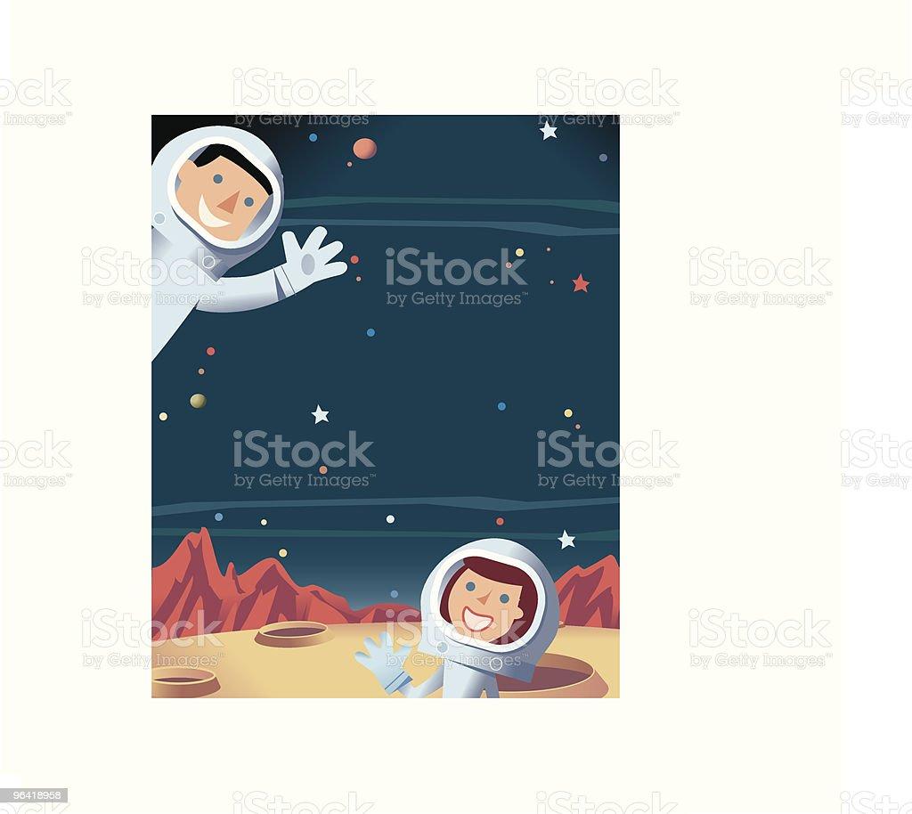 Space + Astronauts vector art illustration