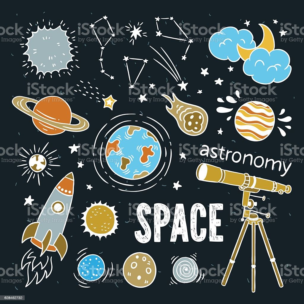 Space astronomy and astrology hand drawn illustration doodles - Illustration vectorielle