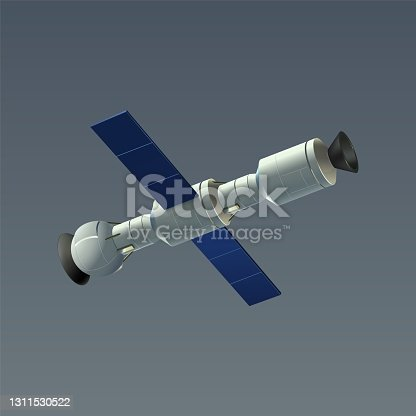 istock Space automatic satellite. Realistic 3D international orbital station drifting in cosmos. Connected modules and solar panels. Vector orbiter for cosmic exploration flying around Earth 1311530522