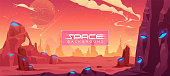istock Space background, alien fantasy planet landscape 1208620740