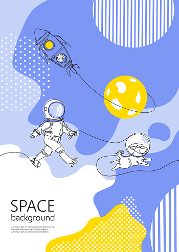 Space background. Astronaut walks with a dog. A dog in space.