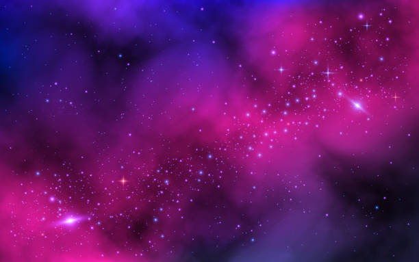 illustrazioni stock, clip art, cartoni animati e icone di tendenza di space background. bright milky way with nebula and stars. color galaxy with stardust. abstract futuristic backdrop. vector illustration - space