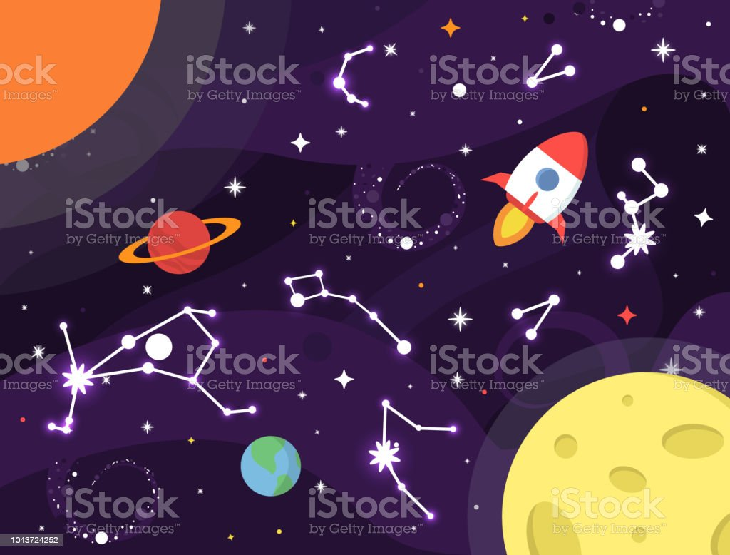 Space Background Colorful Galaxy With Nebula Planets Stars Milky Way Constellation Earth Rocket Moon Sun Black Hole Outer Space Design Stardust And Shining Stars Background Cosmic Vector Illustration For Brochures Flyer Cards