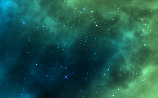 Space background. Green realistic cosmos backdrop. Starry nebula with stardust and milky way. Color galaxy and shining stars. Bright space objects. Vector illustration