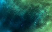 Space background. Green realistic cosmos backdrop. Starry nebula with stardust and milky way. Color galaxy and shining stars. Bright space objects. Vector illustration.