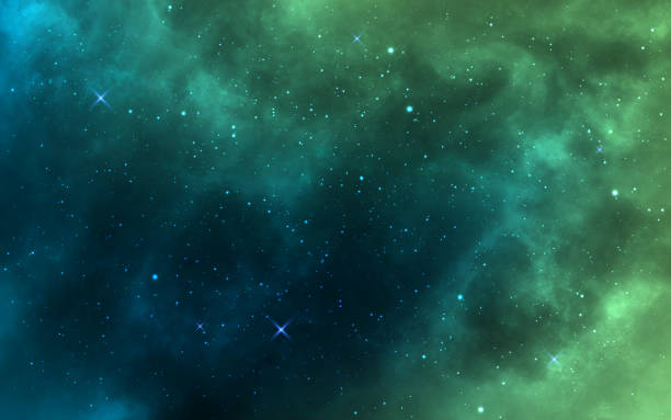 ilustraciones, imágenes clip art, dibujos animados e iconos de stock de fondo espacial. verde cosmos realista telón de fondo. nebulosa estrellada con polvo de estrellas y forma lechosa. galaxia de color y estrellas brillantes. objetos de espacio brillante. ilustración vectorial - desierto
