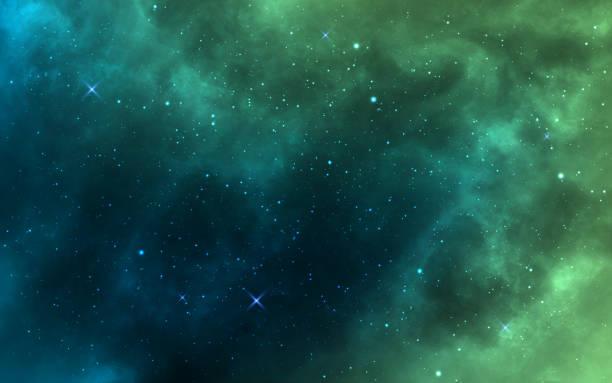 raumhintergrund. grüner realistischer kosmos-hintergrund. sternennebel mit sternenstaub und milchstraße. farbgalaxie und leuchtende sterne. helle raumobjekte. vektor-illustration - milky way stock-grafiken, -clipart, -cartoons und -symbole