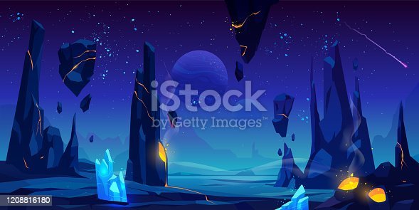istock Space background, night alien fantasy landscape 1208816180