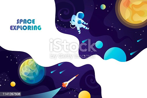 Space background. Planets, universe and astronaut. Template for background, banner, landing, card.
