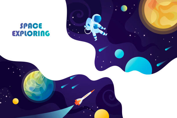 space background. planets, universe and astronaut. template for background, banner, landing, card. - space background stock illustrations