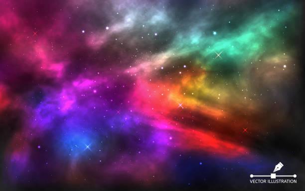 raum hintergrund. realistischer, bunter kosmos. helle milchstraße für banner, werbung, poster. kosmos mit sternenstaub und leuchtenden sternen. abstrakte farbgalaxie. vektorabbildung - milky way stock-grafiken, -clipart, -cartoons und -symbole