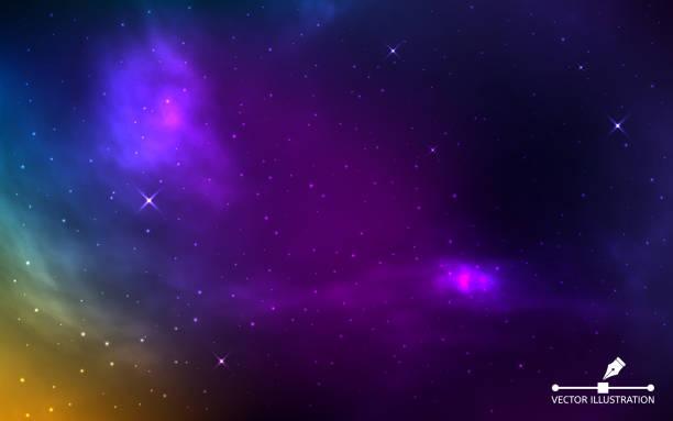 der raum ist realistisch. bunte kosmos mit leuchtenden sternen. farbsterbe und nebel. galaxy mit milchstraße. starry hintergrund. abstraktes helles universum. vektorabbildung - milky way stock-grafiken, -clipart, -cartoons und -symbole