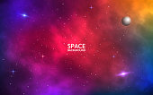 Space background. Realistic colorful galaxy. Color nebula with shining stars, stardust and planet. Abstract futuristic backdrop. Vector Illustration for brochure, banner, poster.