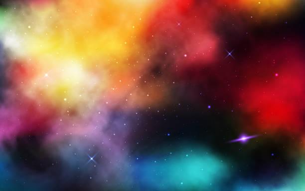 raumhintergrund. realistischer kosmos mit sternenstaub und nebel. buntes universum mit planet und milchstraße. abstrakte farbgalaxie und leuchtende sterne. vektor-illustration - milky way stock-grafiken, -clipart, -cartoons und -symbole