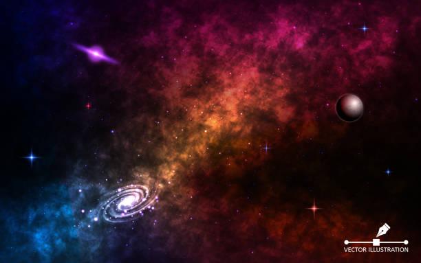 weltraum hintergrund realistisch. kosmos mit sternenstaub und leuchtenden sternen. spiralgalaxie mit planeten, milchstraße und bunte nebel. geschichtete kosmischen hintergrund. vektor-illustration - milky way stock-grafiken, -clipart, -cartoons und -symbole