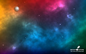 Space background realistic. Infinite universe with shining stars. Colorful cosmos with milky way and stardust. Starry color galaxy. Magic blue nebula. Vector illustration.