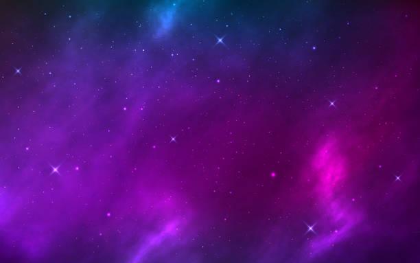 raum hintergrund realistisch mit leuchtenden sternen. kosmische textur mit nebel, milchstraße und sternenstaub. magischer kosmos mit farbgalaxie. unendliche sternennacht. vektor-illustration - milky way stock-grafiken, -clipart, -cartoons und -symbole