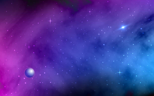 weltraum hintergrund. leuchtende sterne und sternenstaub. milchstraße, planet, bunte galaxie mit nebel. abstrakte futuristische kulisse. realistische vektor-illustration - milky way stock-grafiken, -clipart, -cartoons und -symbole