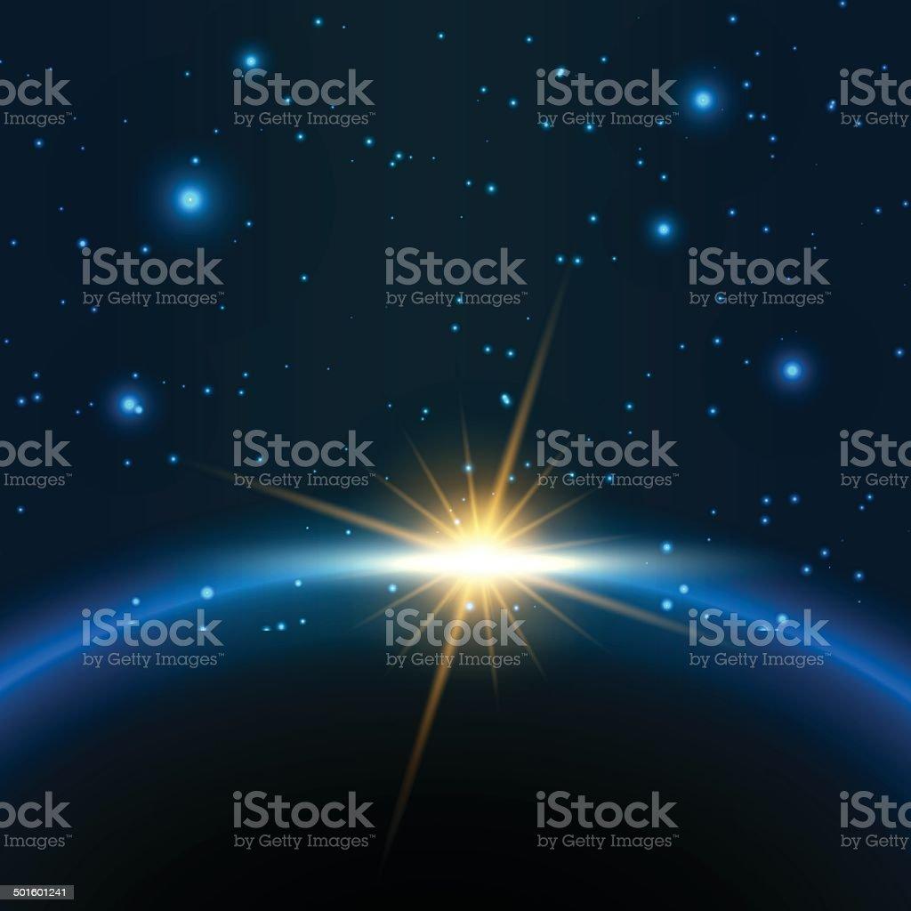 Space background vector art illustration