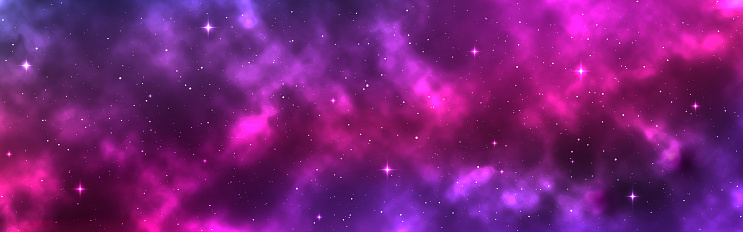 Space background wide. Cosmic backdrop with stars and nebula. Realistic cosmos with stardust. Magic colorful galaxy. Long milky way. Vector illustration