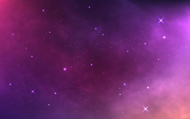 parlak bulutsu ve samanyolu ile uzay arka plan. yıldız tozu ve parlayan yıldızlarla gerçekçi kozmos. sihirli renkli galaksi. yumuşak yıldızlı gökyüzü. kozmik doku. vektör çizimi - space background stock illustrations