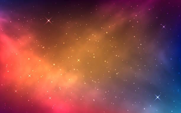 raum hintergrund mit bunten nebel. heller kosmos mit milchstraße. leuchtende sterne und farbgalaxie. abstrakter sternenstaub mit kosmischen elementen. realistisches universum. vektor-illustration - milky way stock-grafiken, -clipart, -cartoons und -symbole