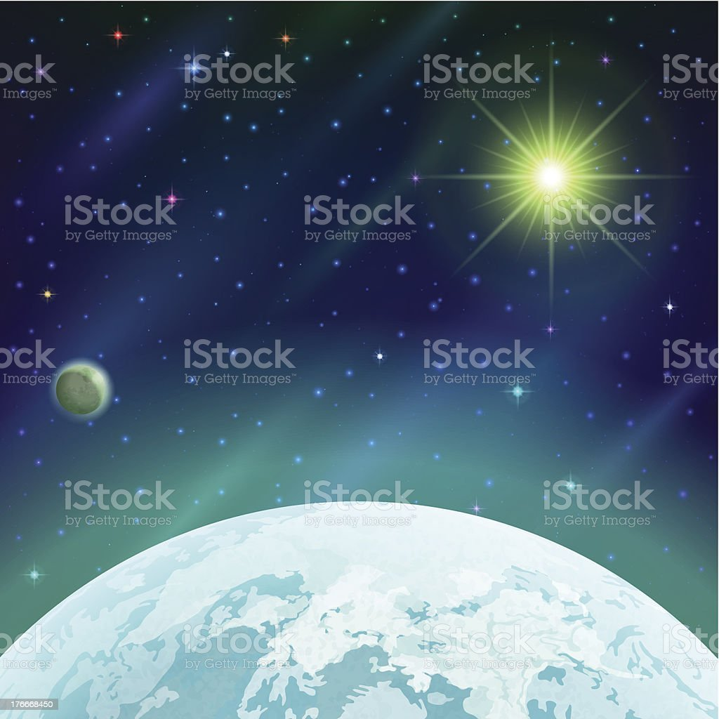Space background with planet and sun royalty-free space background with planet and sun stock vector art & more images of blue