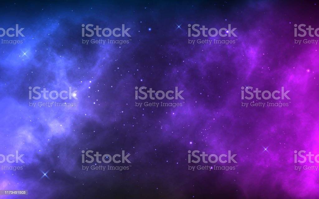 Space background with realistic nebula and shining stars. Colorful cosmos with stardust and milky way. Magic color galaxy. Infinite universe and starry night. Vector illustration - Векторная графика Абстрактный роялти-фри