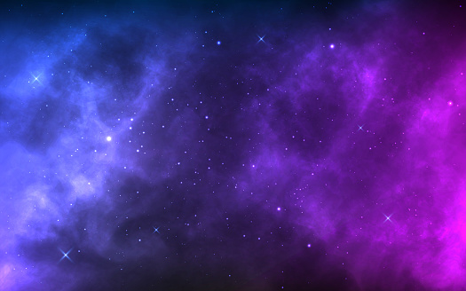 Space background with realistic nebula and shining stars. Colorful cosmos with stardust and milky way. Magic color galaxy. Infinite universe and starry night. Vector illustration clipart