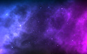 istock Space background with realistic nebula and shining stars. Colorful cosmos with stardust and milky way. Magic color galaxy. Infinite universe and starry night. Vector illustration 1173451503