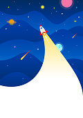 istock Space background with rocket 1289246852